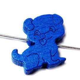Margele lemn, albastre, caine 17x17x5mm 1 buc