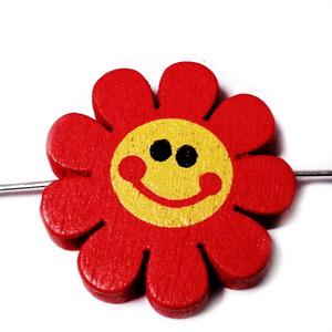 Margele lemn, floare rosie, 23x4mm 1 buc