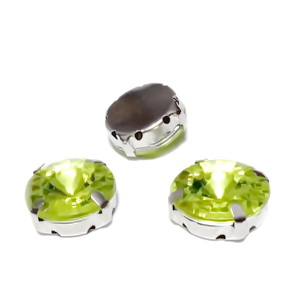 Margele montee rhinestone, plastic, rotunde, verde-galbui, 14x6.5mm 1 buc