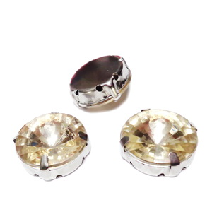 Margele montee rhinestone, plastic, rotunde, aurii, 16x8mm 1 buc