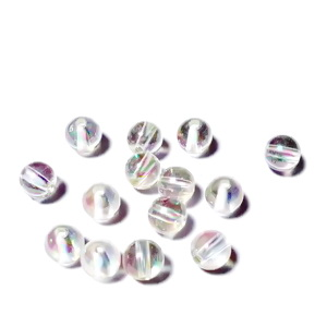 Margele plastic transparent cu reflexe AB, 8mm 10 buc