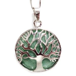 Pandantiv metalic, argintiu inchis, copacul vietii, cu cabochon aventurin, 31x27x8mm 1 buc
