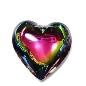 Pandantiv sticla electroplacata, multicolor, inima 42x44x15mm 1 buc