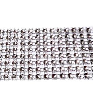 Panglica decorativa cu 8 fire matase argintie cu imitatie stras, 4cm 1 m