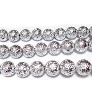 Lava electroplacata, argintie, 8-9mm 1 buc