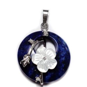 Pandantiv Lapis Lazuli cu accesorii metalice si floare sidef, 35.5~36x28x8mm 1 buc