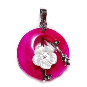 Pandantiv agata fucsia cu accesorii metalice si  floare  sidef, 35.5~36x28x8mm 1 buc