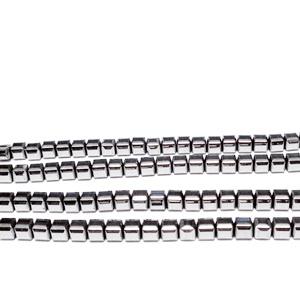 Hematite nemagnetice, placate argintiu, cubice cu muchiile tesite, 3x3x3mm 1 buc