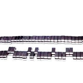 Hematite nemagnetice, placate argintiu, cu 2 orificii, 6x3mm 1 buc