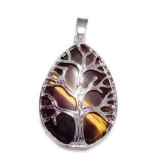 Pandantiv metalic, argintiu inchis, copacul vietii, cu cabochon ochi de tigru, lacrima 45x26mm 1 buc