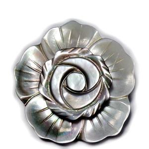 Brosa/pandantiv sidef gri, floare 35mm 1 buc