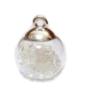 Glob sticla cu accesoriu plastic argintiu si rhinestone AB in interior, 21x15.5~16mm 1 buc