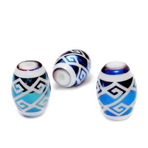 Margele sticla electroplacate, alb cu albastru, 11x8mm 1 buc