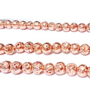 Hematite nemagnetice, cu aspect lava, placate roz somon, 5mm 1 buc