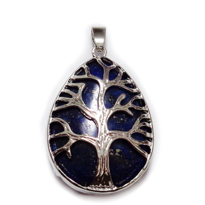 Pandantiv metalic, argintiu inchis, copacul vietii, cu cabochon lapis lazuli, lacrima 45x26mm  1 buc
