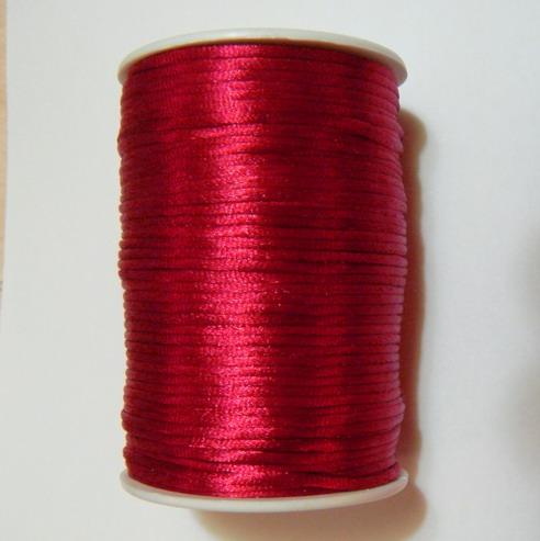 Snur saten, rosu-visiniu, 2mm 1 m