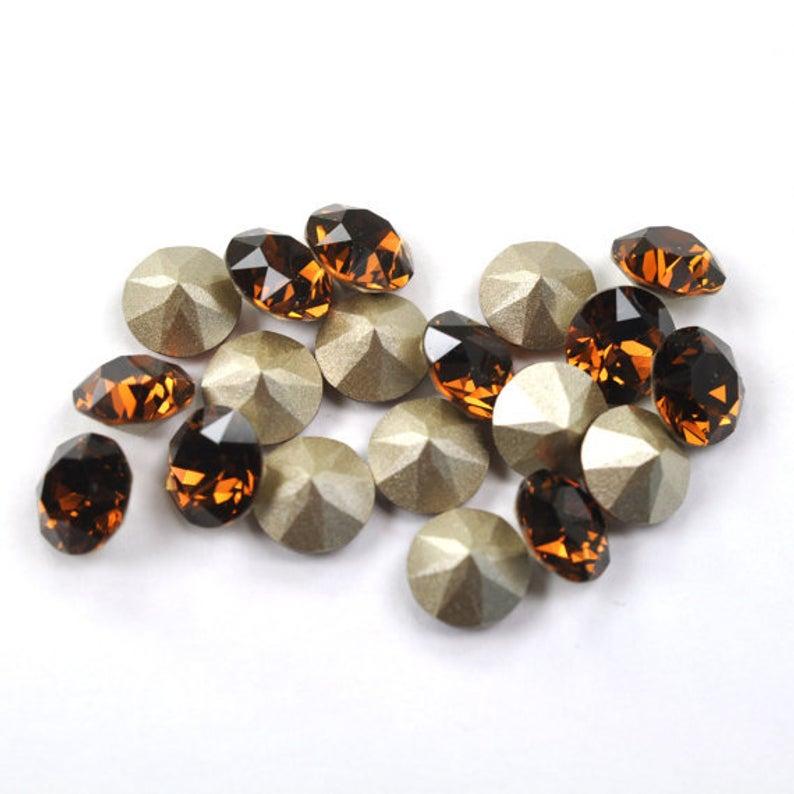 Swarovski Elements, Xirius Chaton 1088 PP10, Smoked Topaz 1.6mm 10 buc
