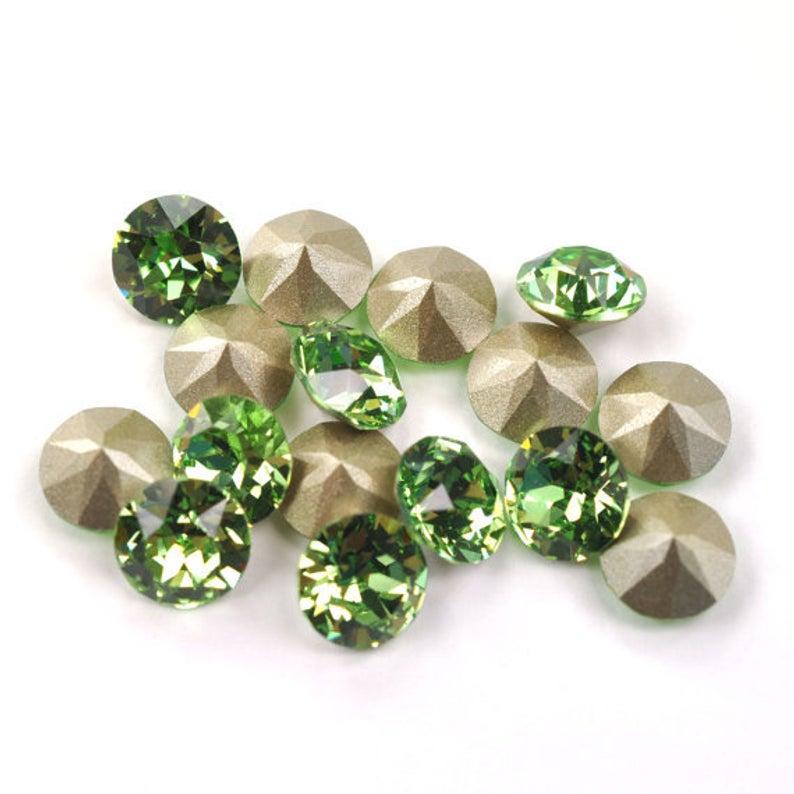Swarovski Elements, Xirius Chaton 1088 PP10, Peridot 1.6mm 10 buc