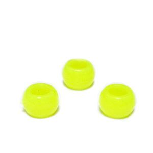 Margele plastic, galben-fosforescent, 8x6mm, orificiu 4.5mm 1 buc