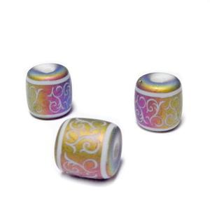 Margele sticla albe cu desen electroplacat multicolor, mat, tub 12x12nm 1 buc