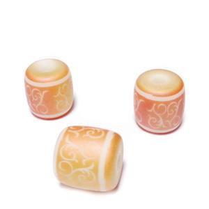 Margele sticla albe cu desen electroplacat roz-auriu, mat, tub 12x12nm 1 buc