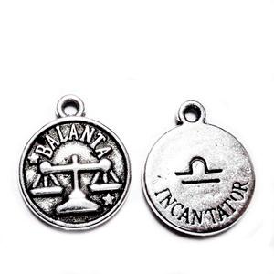 Pandantiv argintiu antichizat, zodiac, BALANTA,  14.5x12x2mm 1 buc