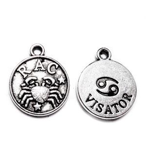 Pandantiv argintiu antichizat, zodiac, RAC,  14.5x12x2mm 1 buc