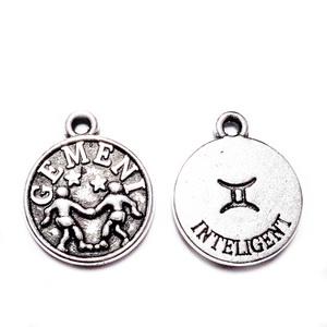Pandantiv argintiu antichizat, zodiac,GEMENI,  14.5x12x2mm 1 buc
