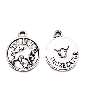 Pandantiv argintiu antichizat, zodiac, TAUR,  14.5x12x2mm 1 buc