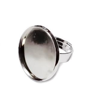 Baza inel, argintiu inchis, interior 17mm, pt. cabochon 22mm 1 buc