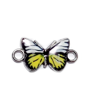 Conector / link argintiu inchis, emailat, galben cu alb, fluturas 12x23x2mm 1 buc
