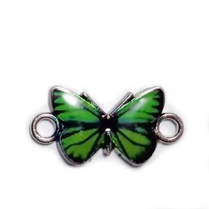 Conector / link argintiu inchis, emailat, verde, fluturas 12x23x2mm 1 buc