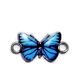 Conector / link argintiu inchis, emailat, albastru, fluturas 12x23x2mm 1 buc