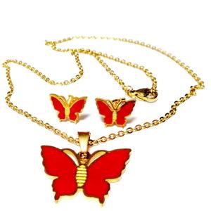 Set lantisor 45x0.2cm si cercei otel inoxidabil auriu cu fluturasi rosii 1 set