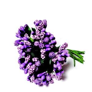 Buchet 12 flori mov, din stamine, 7-8 cm 1 set