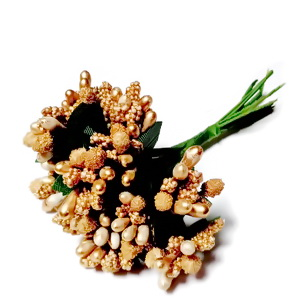 Buchet 12 flori maro-auriu, 7-8 cm 1 set