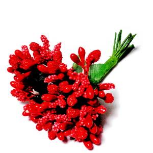 Buchet 12 flori rosii, din stamine, 7-8 cm 1 set