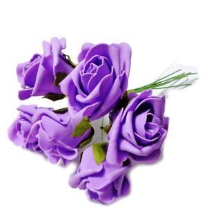 Set 6 trandafiri mov din burete 1 set