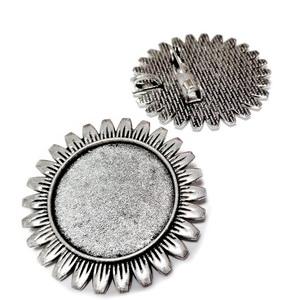 Baza cabochon, argint tibetan, brosa/pandantiv, 38 mm, interior 25mm 1 buc