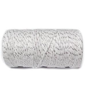 Snur bumbac rasucit, alb cu fir lame argintiu, grosime 1.5~2mm, bobina cca 91 m 1 buc