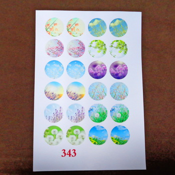 Sticker hartie pt. cabochon 18mm, 24 flori de camp-model 2 1 buc