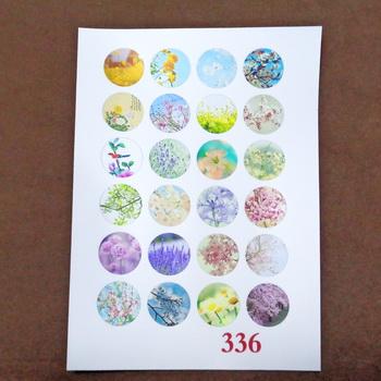 Sticker hartie pt. cabochon 18mm, 24 flori diverse-model 3 1 buc
