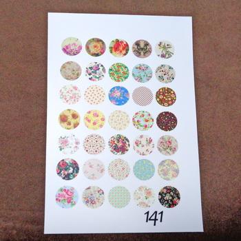 Sticker hartie pt. cabochon 14mm, 35 flori diverse 1 buc