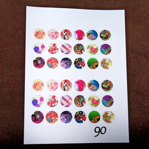 Sticker hartie pt. cabochon 12mm, 36 flori diverse 1 buc