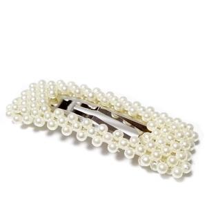Clama(agrafa) prindere par, cu perle plastic crem ABS, 78x28mm 1 buc