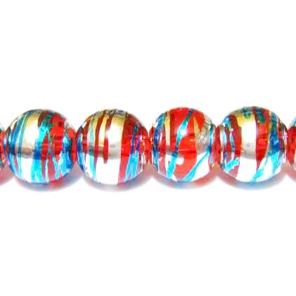 Margele sticla rosii cu albastru si argintiu 10mm 10 buc