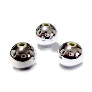 Margele plastic ABS, electroplacate, argintiu metalizat, 10mm 10 buc