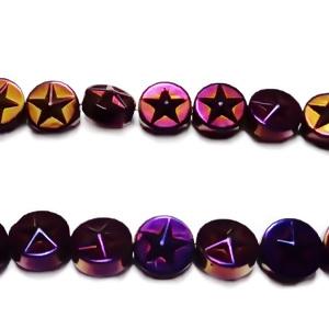Hematite nemagnetice, electroplacate, violet multicolor, 8x3.5mm 1 buc