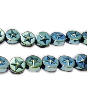 Hematite nemagnetice, electroplacate, vernil multicolor, 8x3.5mm 1 buc