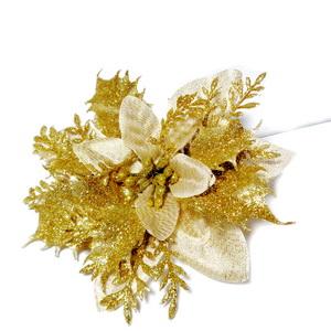 Craciunita aurie cu frunzulite glitter auriu, 12-13cm 1 buc